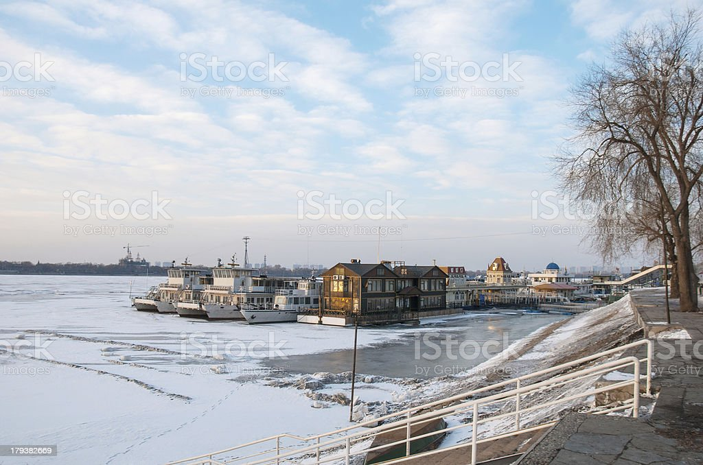 Songhua River in winter stock photo