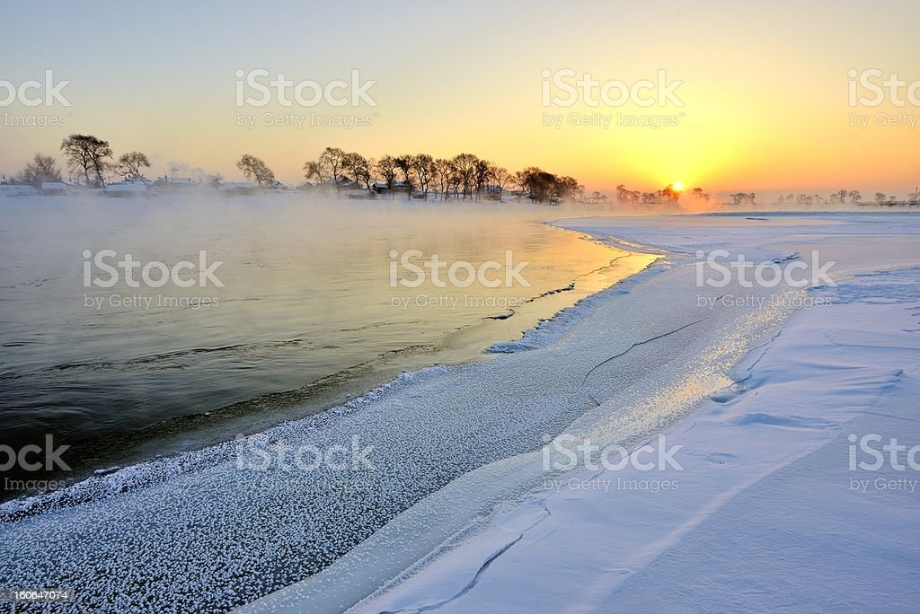 Songhua river scenery, in the northeast of China stock photo