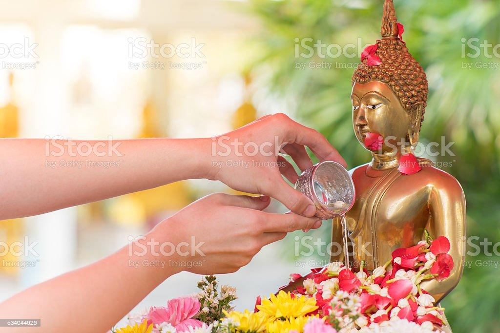 Songkran ceremony in Thailand stock photo