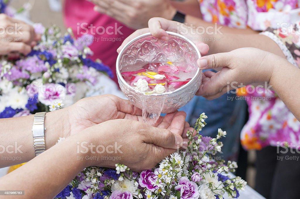 Songkran ceremony, Thai New Year stock photo