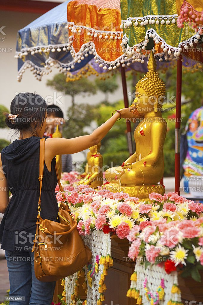 Songkran Clean Buddha Tradition stock photo
