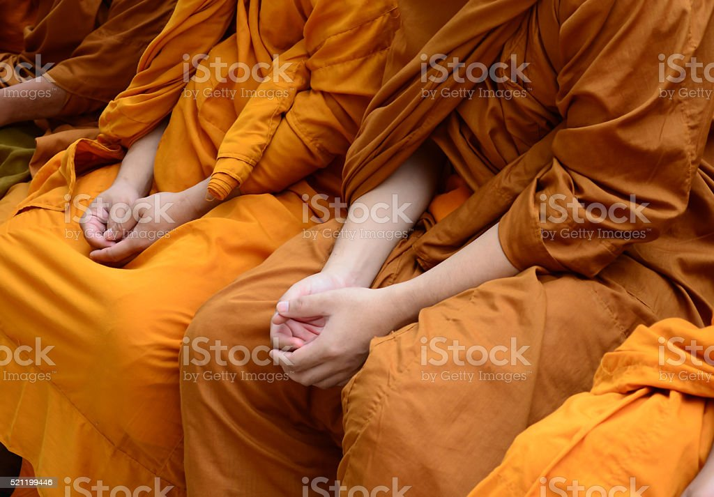 Songkran Festival Thailand to Buddhist monks stock photo