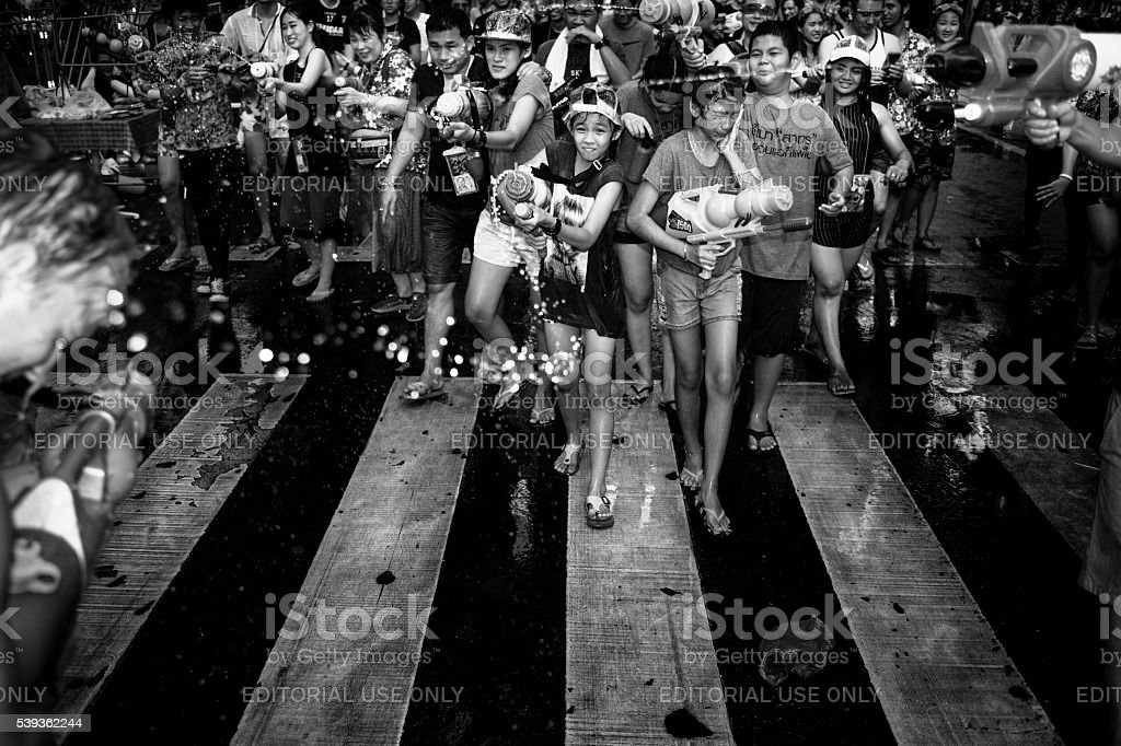Songkran in streets of Silom stock photo