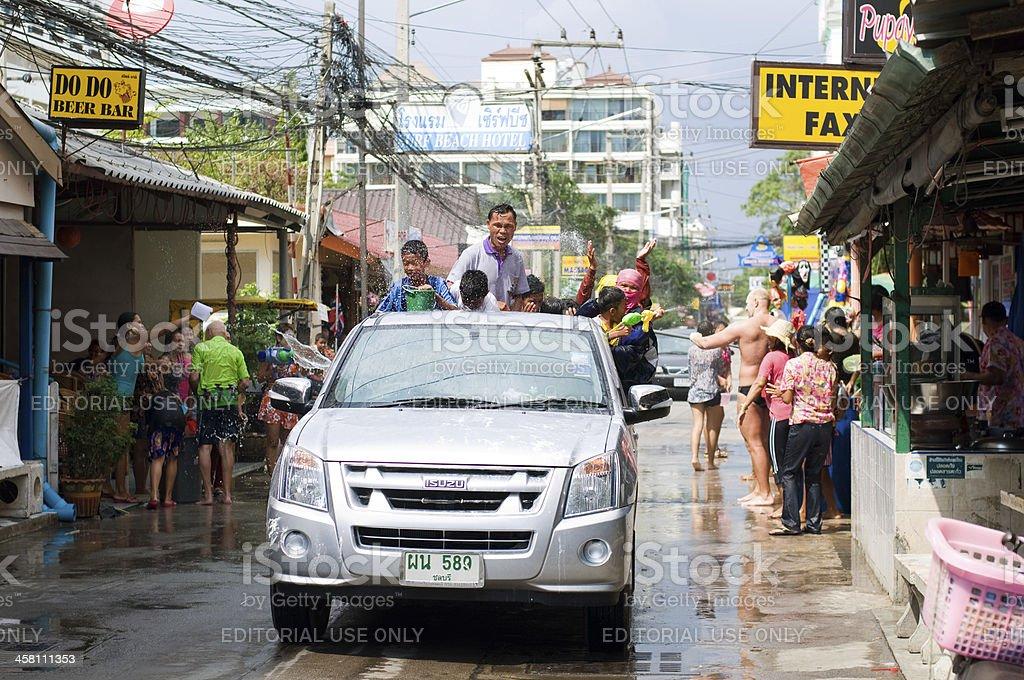 Songkran water splashing in the streets royalty-free stock photo