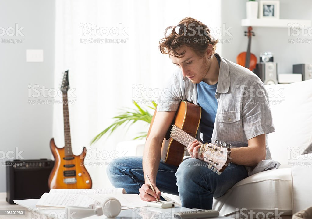 Songwriter composing a song stock photo
