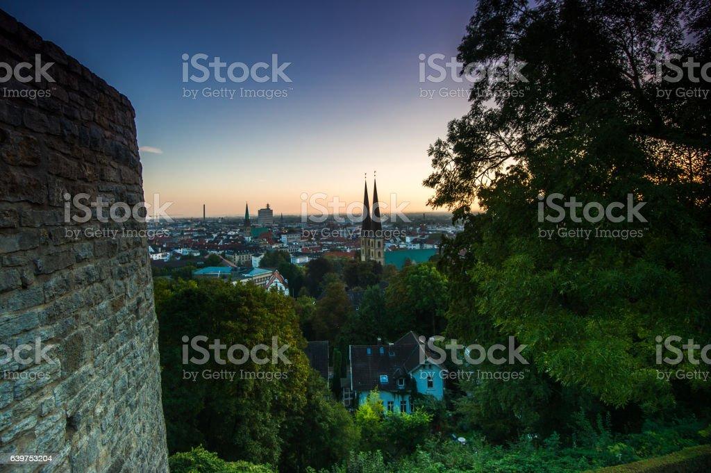 Sonnenaufgang über Bielefeld stock photo