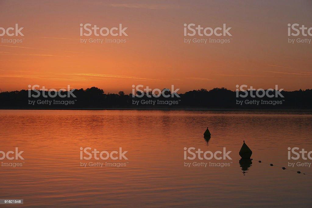 Sonnenaufgang ?ber Herrenchiemsee im bayrischen Chiemsee stock photo