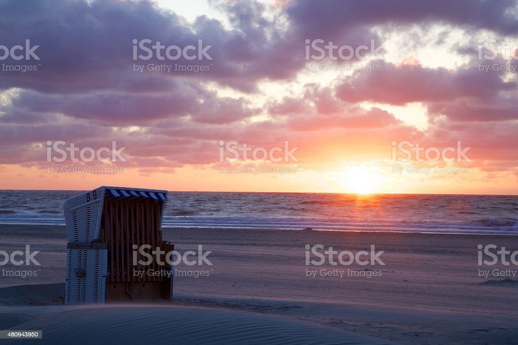 Sonnenuntergang am Strand stock photo