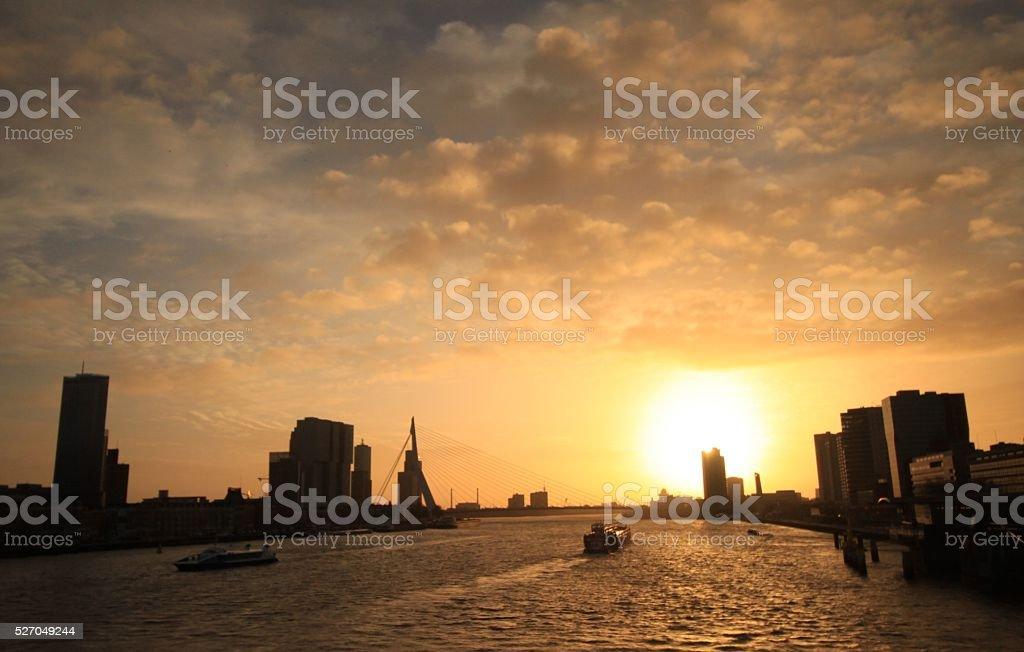 Sonnenuntergang an der Maas stock photo