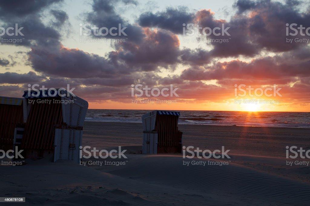 Sonnenuntergang auf Baltrum stock photo