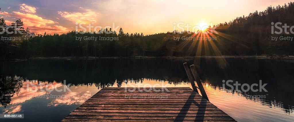 Sonnenuntergangspanorama stock photo