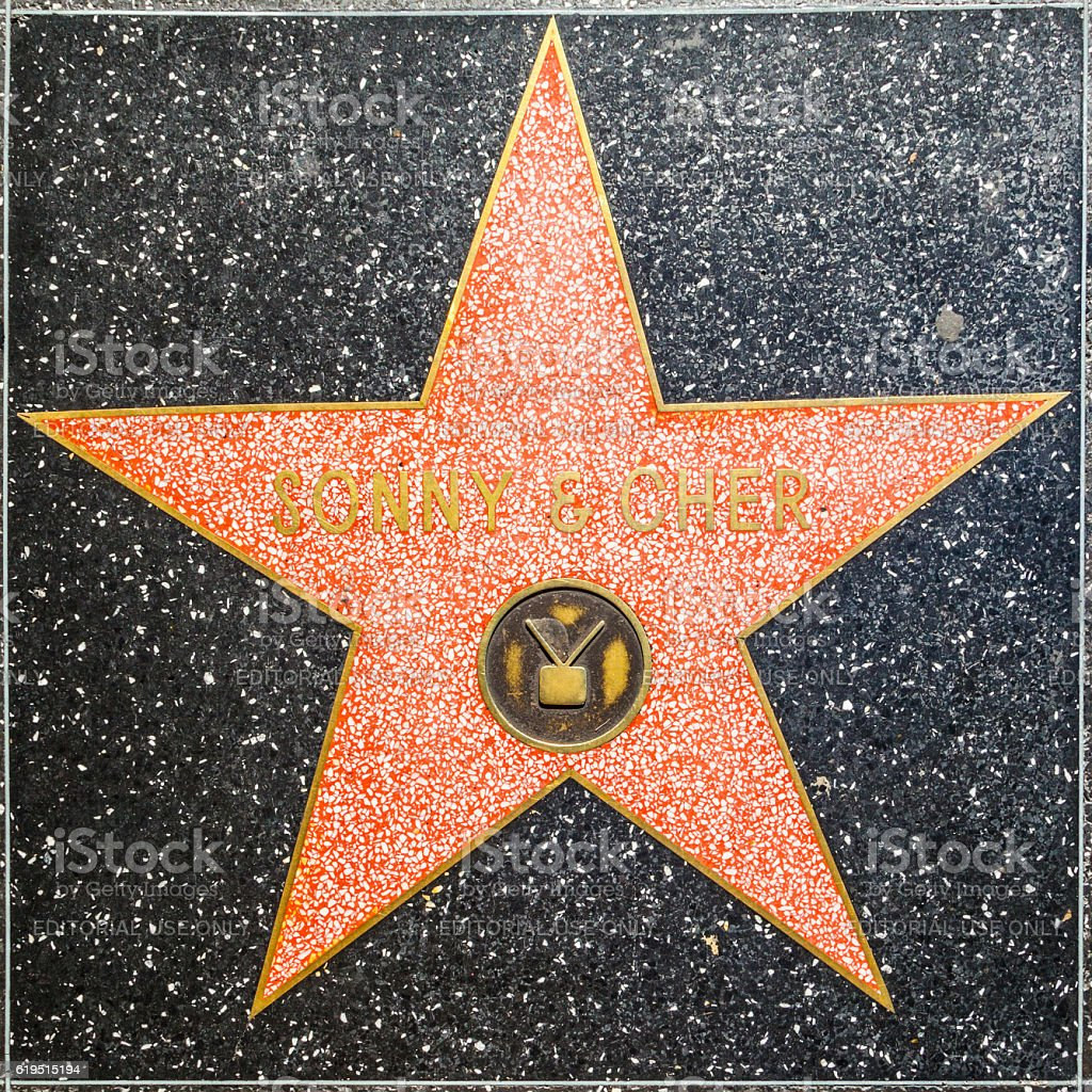 Sonny and Cher's star on Hollywood Walk of Fame stock photo