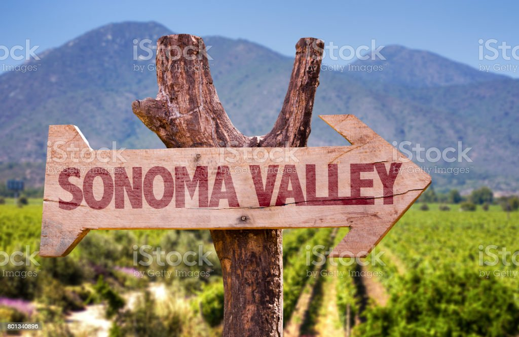 Sonoma Valley direction sign stock photo