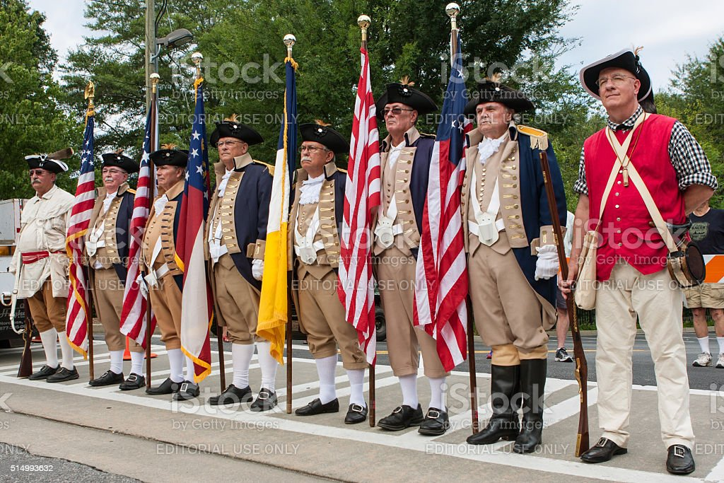 Sons Of The American Revolution Stand Ready To Present Colors stock photo