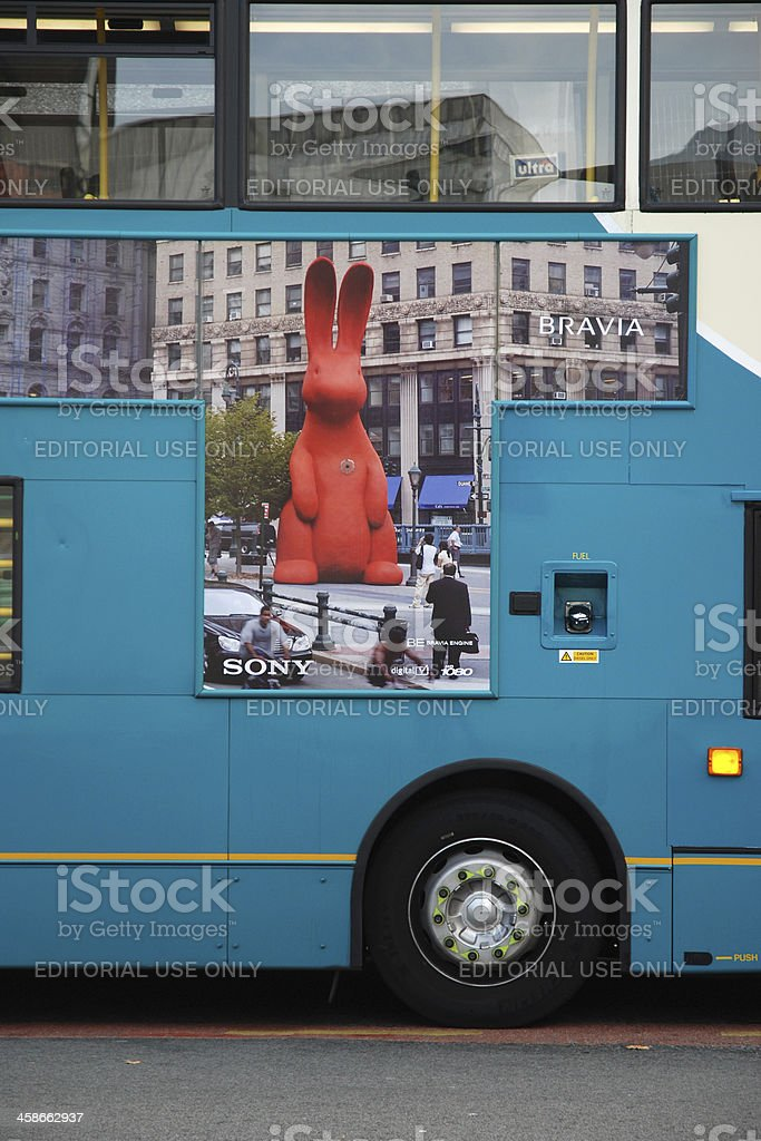 Sony Bravia advertisement on Liverpool bus royalty-free stock photo
