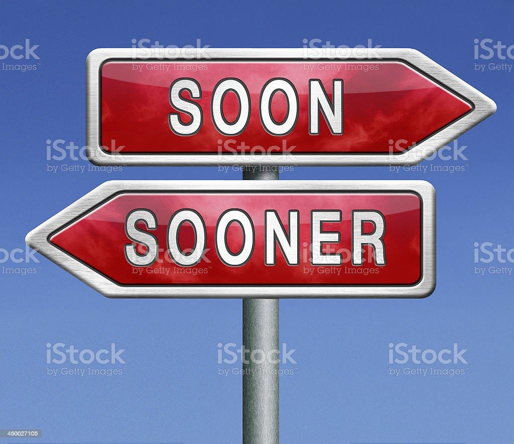 soon or sooner stock photo