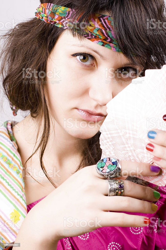 soothsayer with scrying cards stock photo
