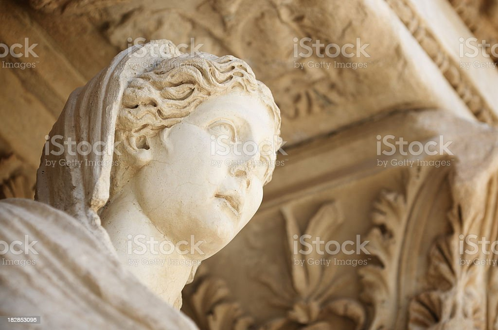 Sophia Goddess of Wisdom Ancient Statue Celsus Library Ephesus Turkey royalty-free stock photo