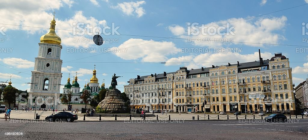 Sophia square, Kiev stock photo
