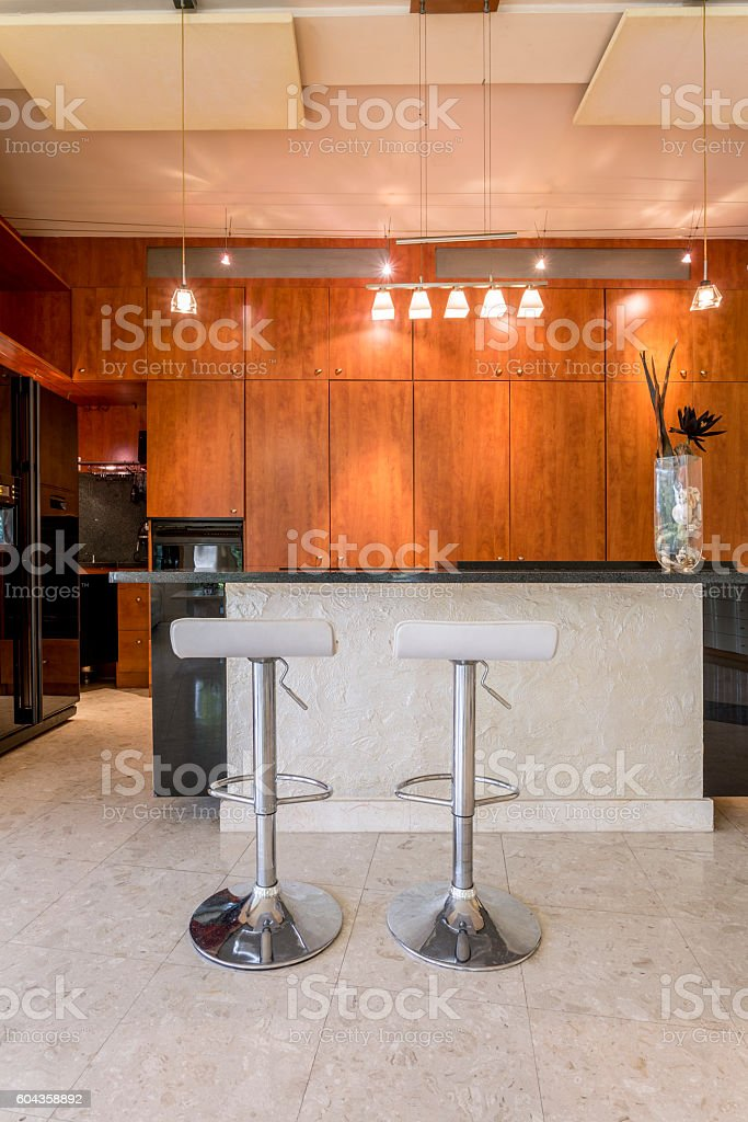 Sophisticated elegance of dark kitchen stock photo
