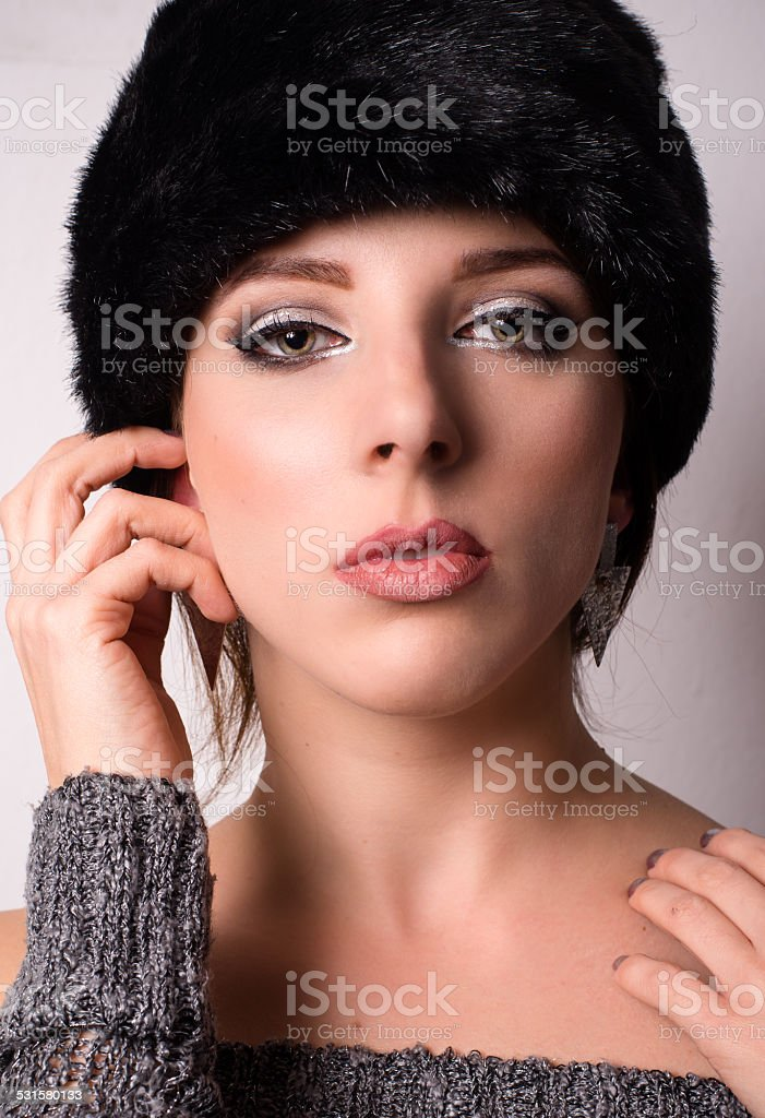 Sophisticated elegant woman in winter fashion stock photo