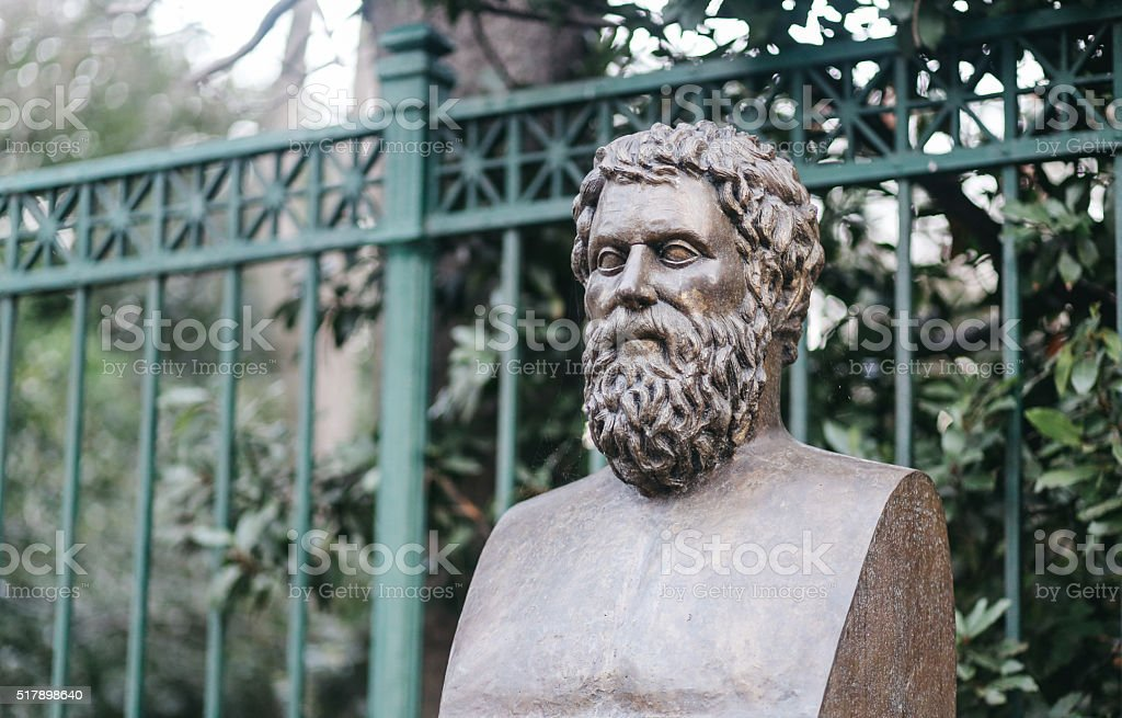Sophocles bust in Athens downtown stock photo
