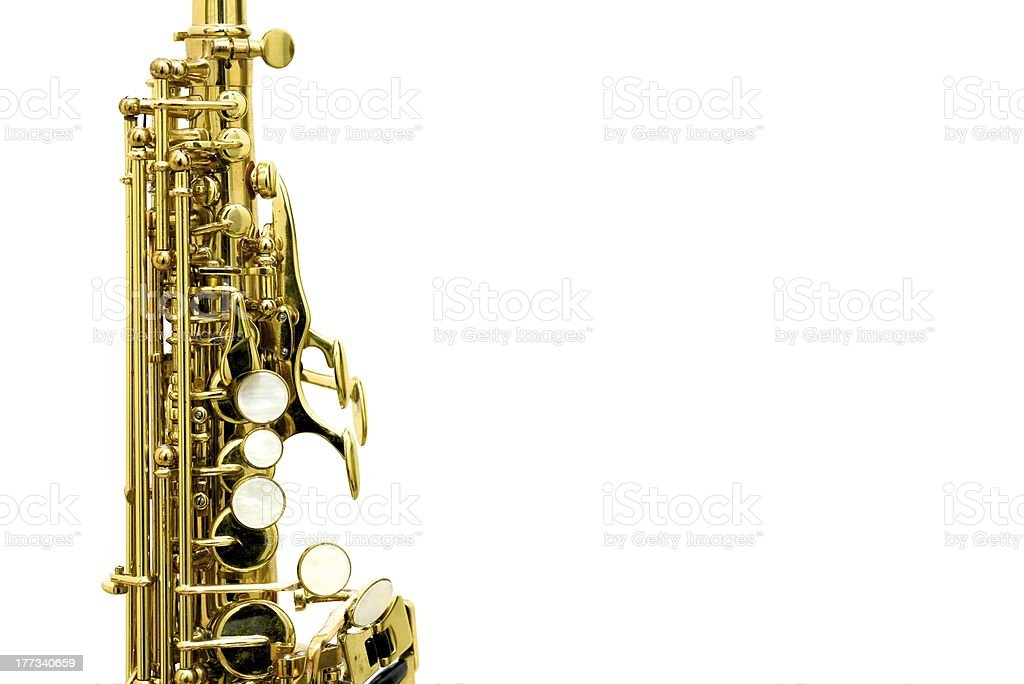 Soprano saxophone mechanism stock photo
