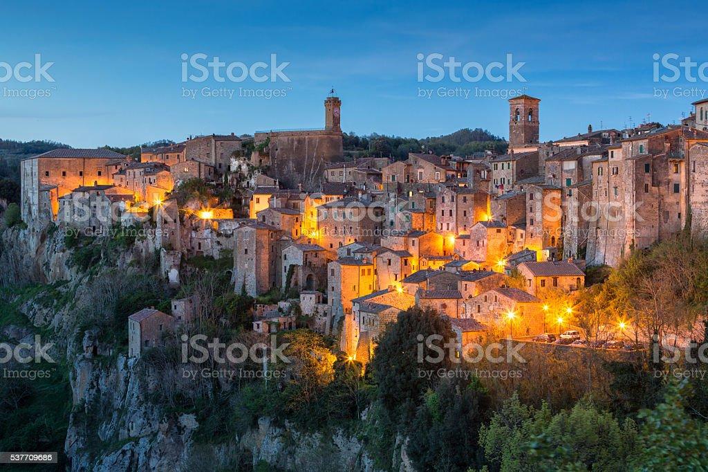 Sorano at evening - Tuscany stock photo