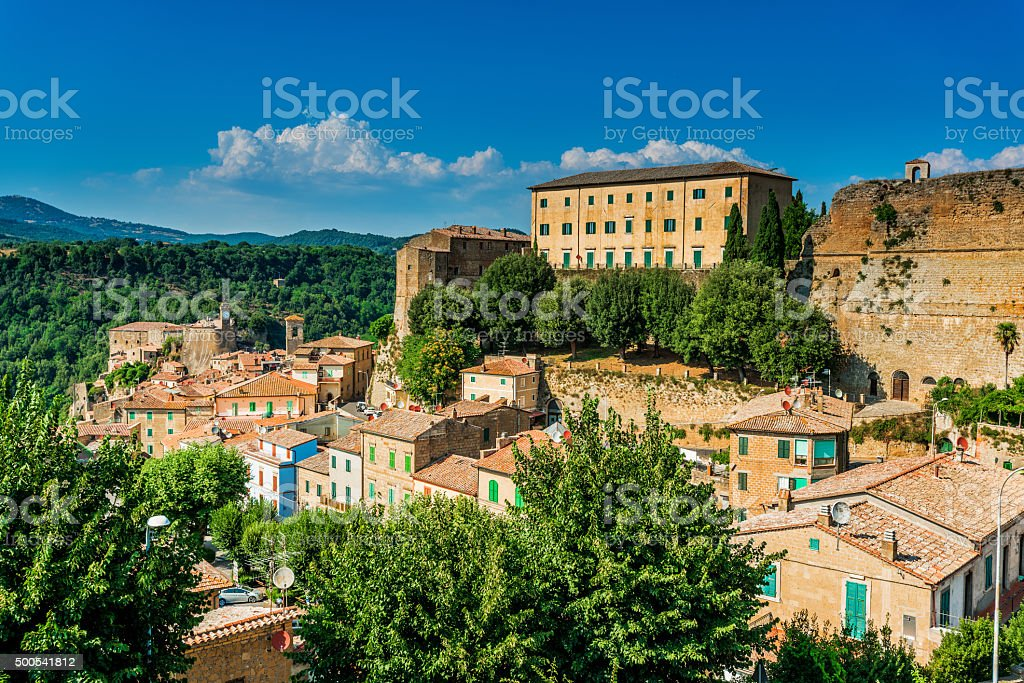 Sorano, medieval town in Tuscany, Italy stock photo