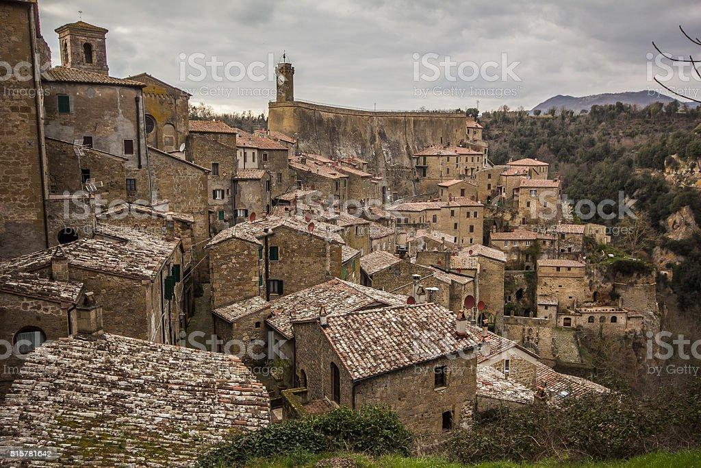 Sorano - tuff city in Tuscany. Italy. stock photo