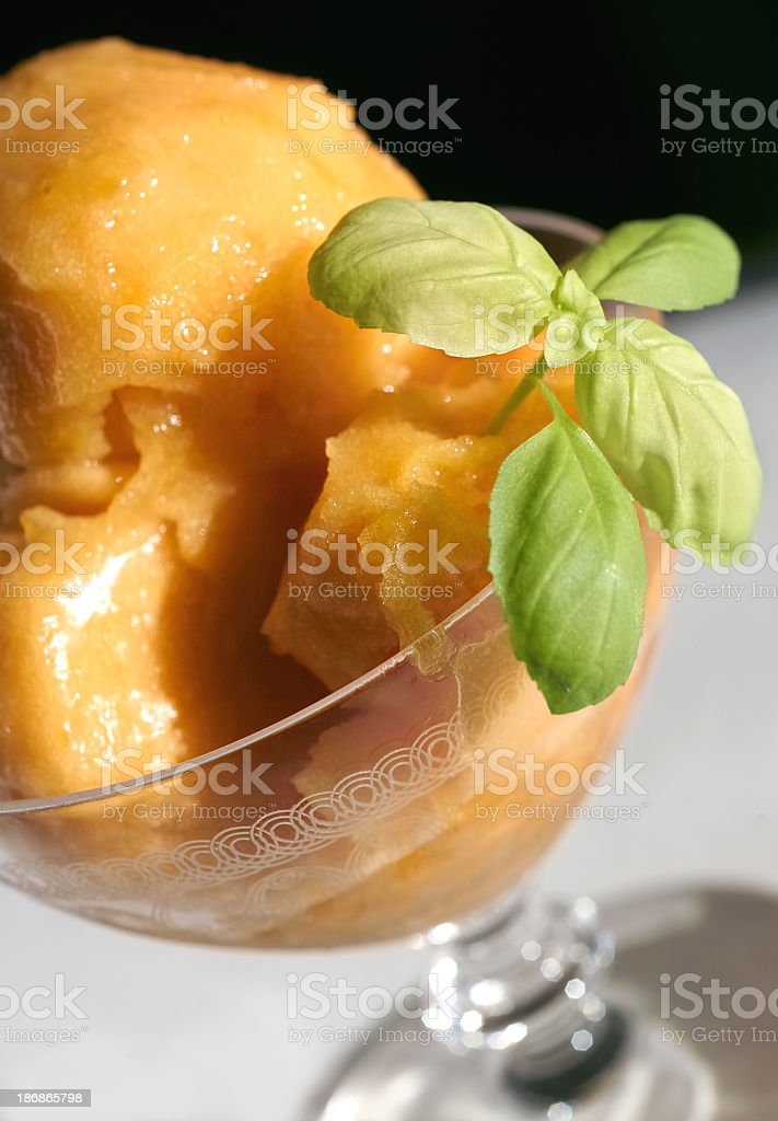 sorbet with basil leaf stock photo