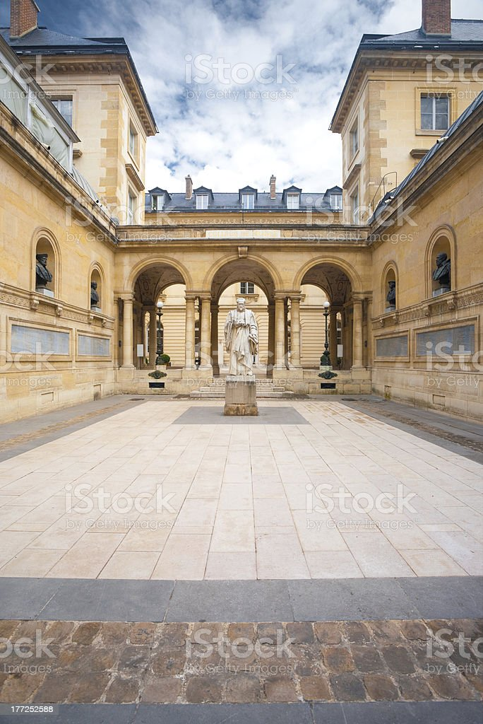Sorbonne Courtyard Statue Arches stock photo