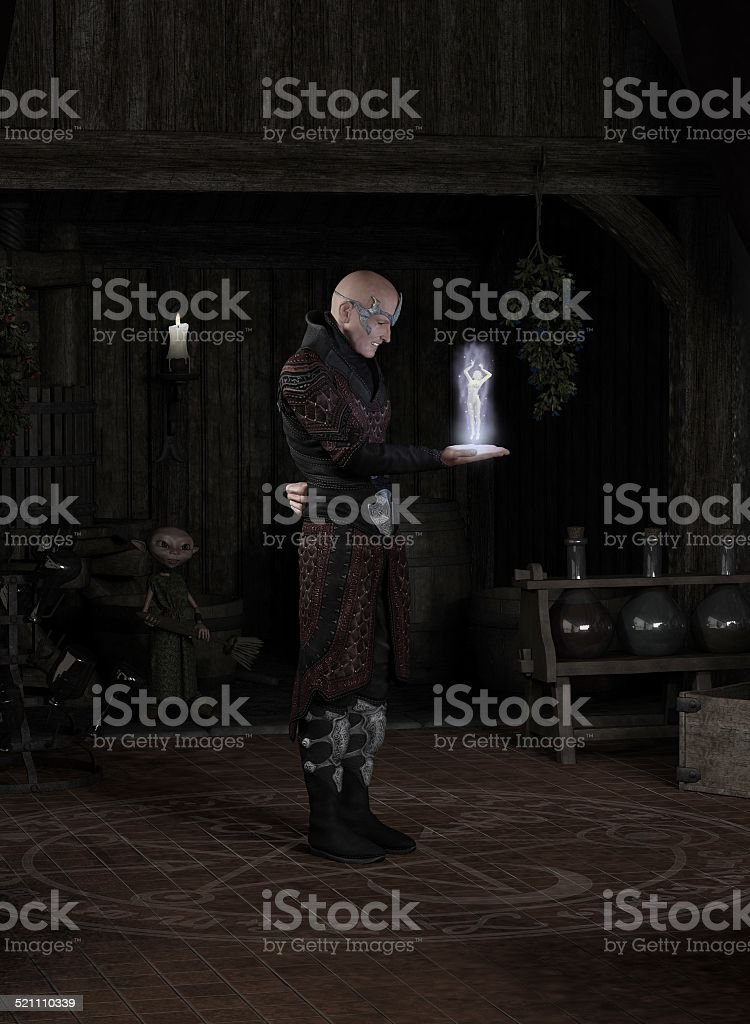 Sorcerer Summoning a Succubus stock photo