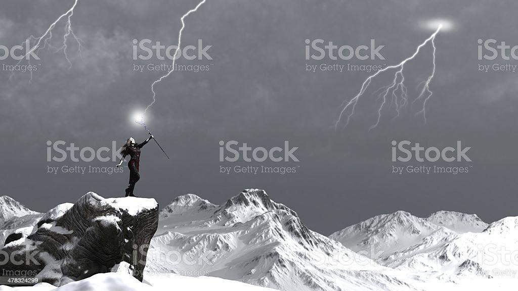 Sorceress Calling the Lightning stock photo