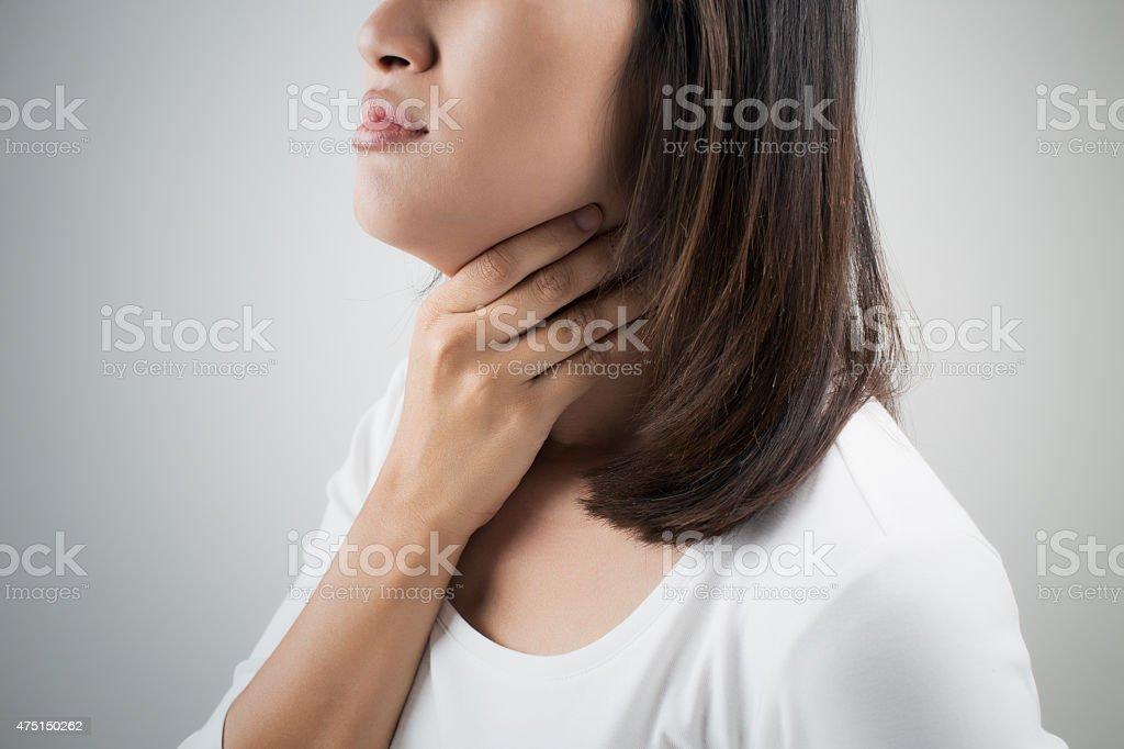 Sore throat stock photo