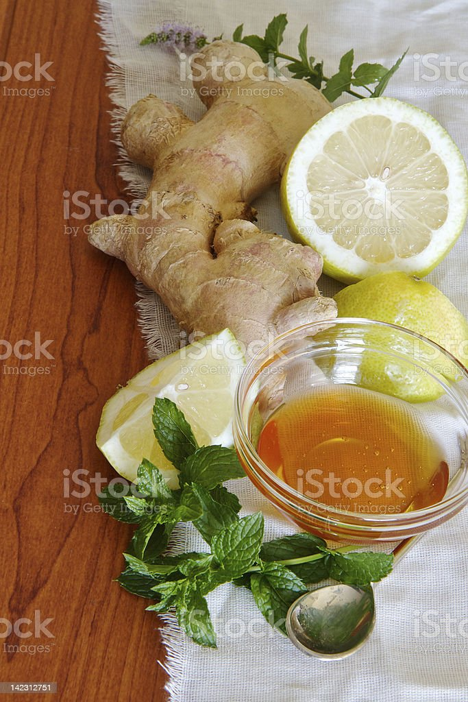 Sore throat remedy ingredients royalty-free stock photo