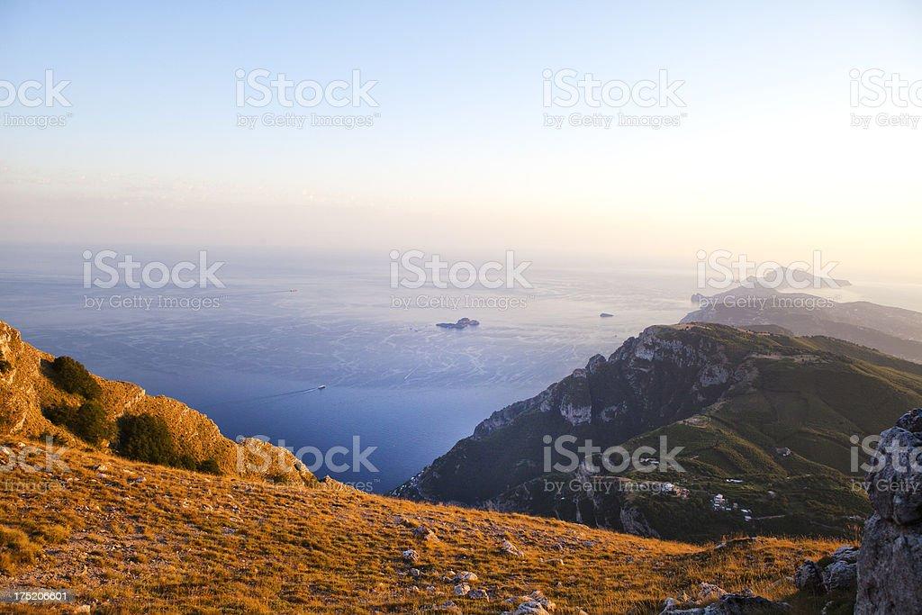 Sorrento and Capri Coasline at sunset royalty-free stock photo