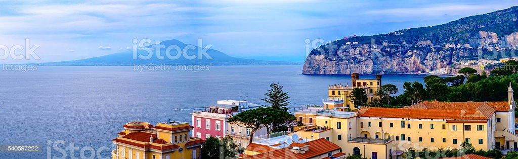 Sorrento panorama, Vesuvius and mediterranean sea. Italy stock photo