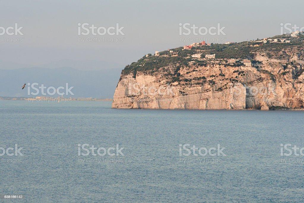 Sorrento, Sea Cliffs, Villas, Harbor and Gulf of Naples, Italy. stock photo