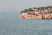 Sorrento, Sea Cliffs, Villas, Harbor and Gulf of Naples, Italy.