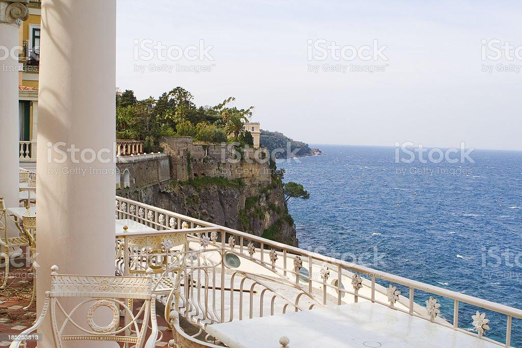Terrasse Des Restaurants Sorrento Am Meer Kampanien Italien
