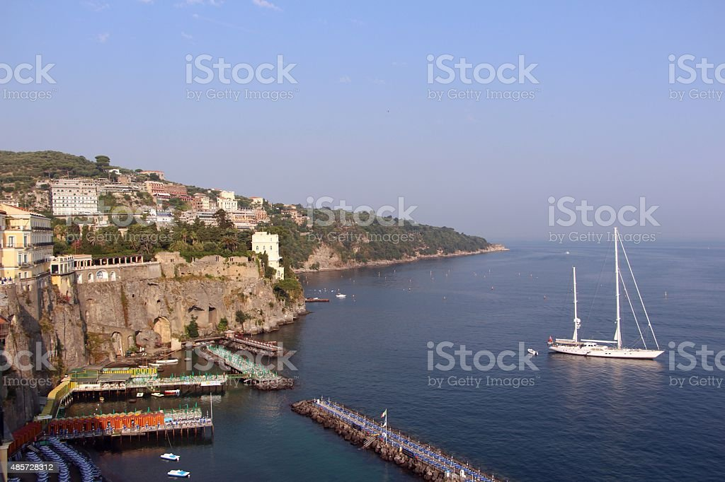 sorrento - view on the sea with a sail stock photo