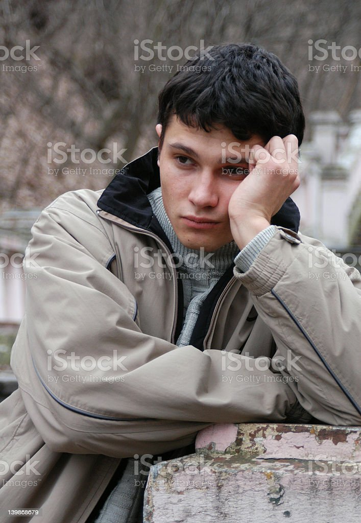 Sorrowful Young Man stock photo