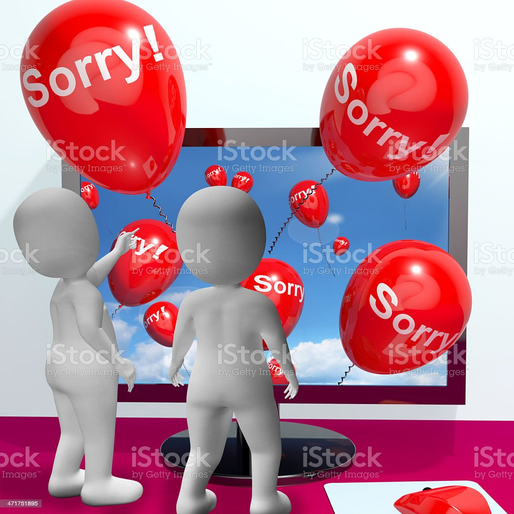 Sorry Balloons From Computer Showing Online Apology Or Remorse royalty-free stock photo