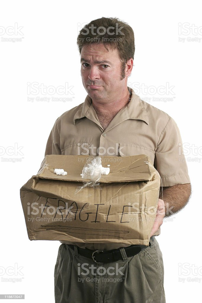 Sorry Delivery Man stock photo