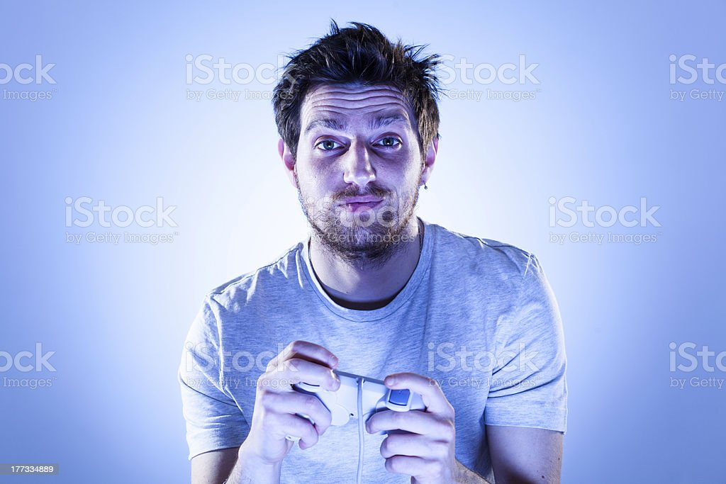 Sorry Man with Gamepad royalty-free stock photo