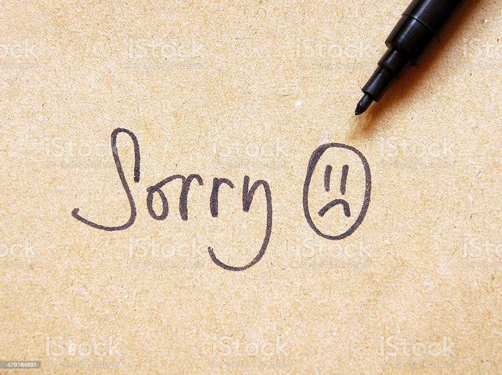 sorry note stock photo