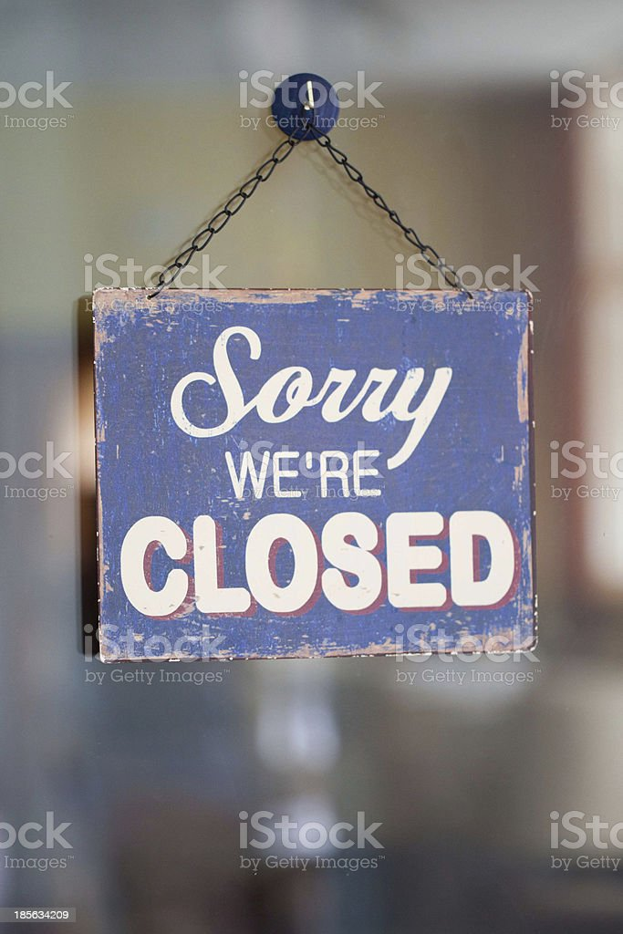 sorry we're closed stock photo