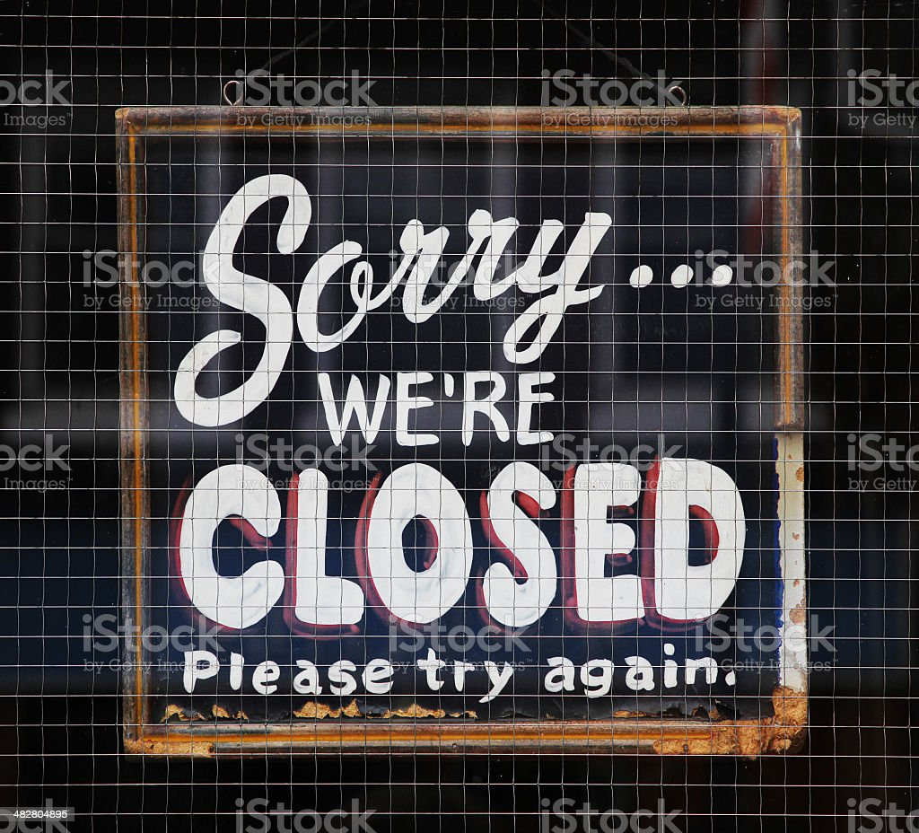 Sorry We're closed sign royalty-free stock photo