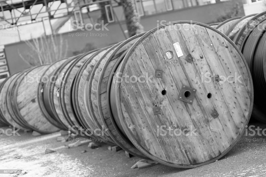 Sorted insudtrial cable rolls stock photo
